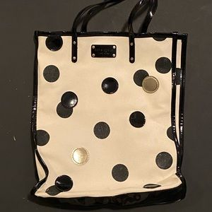 Kate spade large blk and cream polkadot tote bag